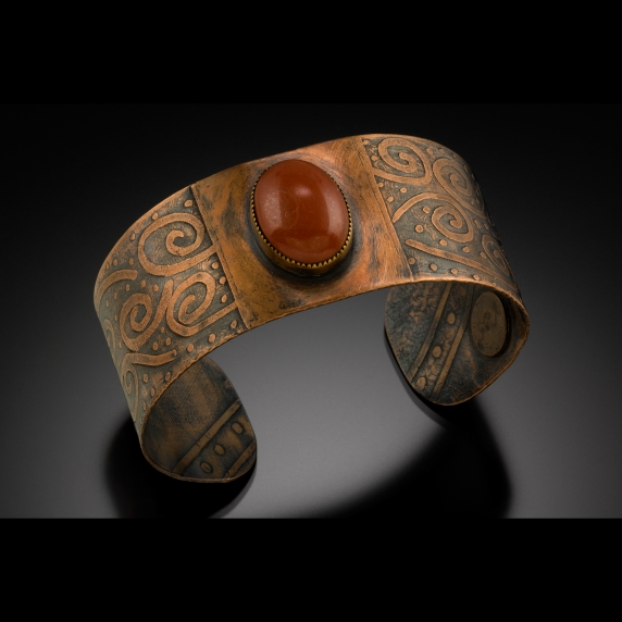 Etched copper bracelet with a jasper cabochon