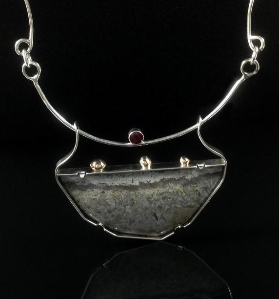 Lace Agate, Garnet & Silver