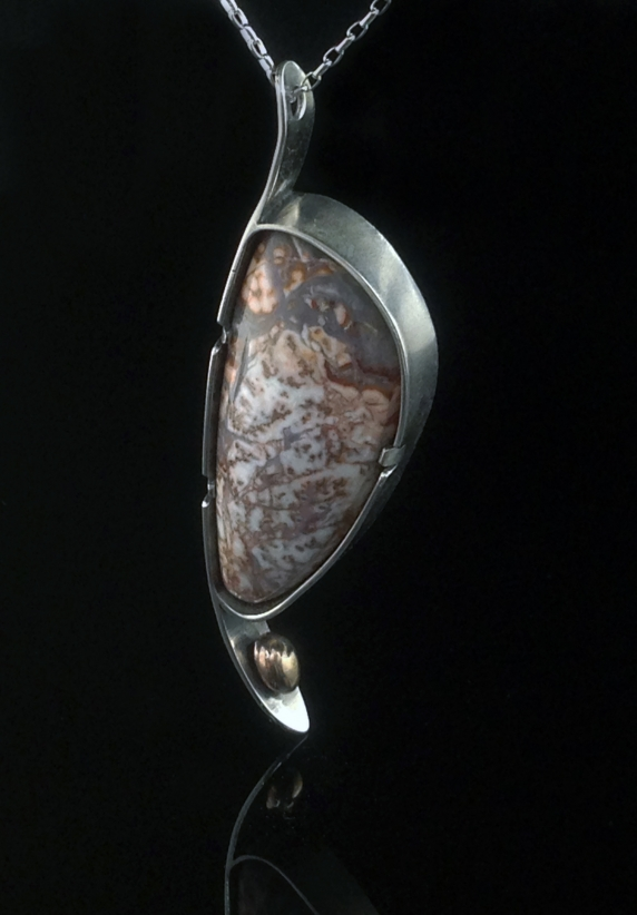 Lace Agate, Sterling and Bronze necklace