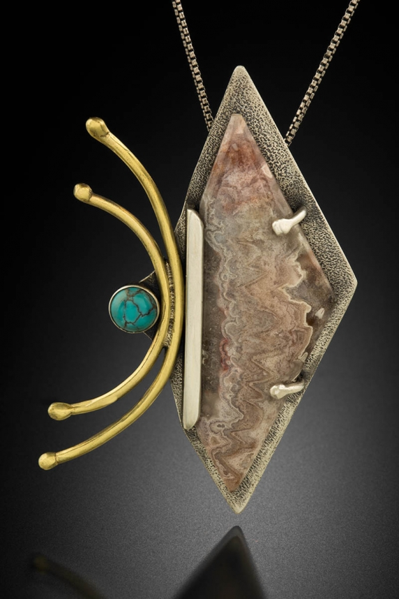 Sterling silver, Brass, Freeform Lace Agate, Turquoise