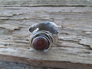 Fused silver ring with shell